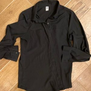 Old Navy black silky button down size M